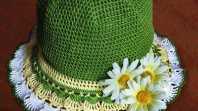 Örgü Yeşil Papatya Motifli Kız Şapkası Tarifi