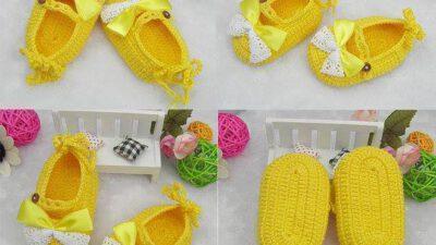 Örgü Sarı Bebek Patiği Tarifi