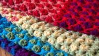 Tığ İşi Gökkuşağı Kutucuklarla Battaniye Örelim Bonbon Şekeri Modeli