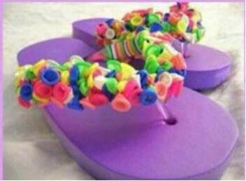balon ile plaj terliği süsleme dıy