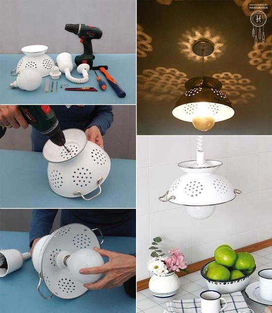 süzgeçten lamba yapımı
