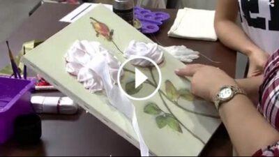 Güllerle Kurdeleli Tablo Yapılışı