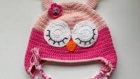 Bebekler İçin Tığla Baykuş Şapka Örneği