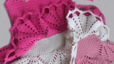 Tığla yapılan eteği fırfırlı elbise yapımı