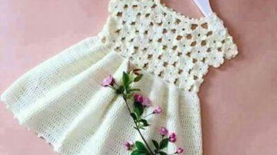 Tığ işi motifli elbise yapımı
