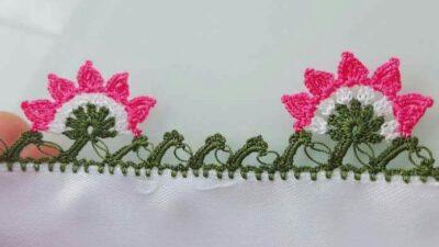 Çiçekli çember oyası yapımı