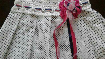 Üstü tığ işi altı kumaş elbise yapımı