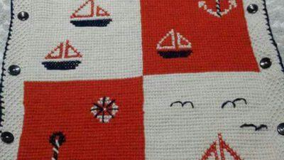 Tunus İşi Denizci İşlemleriyle Süslü Tulum Battaniye Yapımı.