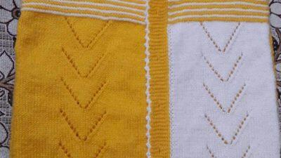2 Renkli Önü Ajur Süslemeli Yelek Yapımı.  5 .6 yaş