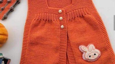 Kol ve Yaka Kesimi Çok Kolay Bebek Yeleği Nasıl Örülür? 1 Yaş