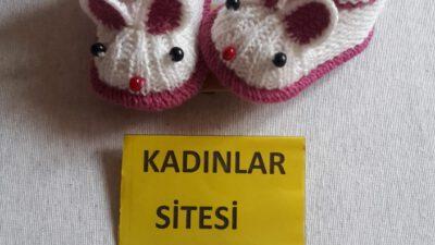 Sevimli Fare Görünümlü Çocuk Patiği Nasıl Örülür? Yenidoğan